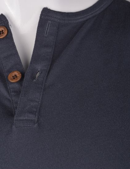 %100 Pamuk Penye Düğmeli T-shirt (2087)